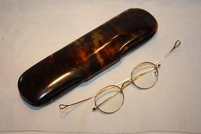 Antique Victorian Rolled Gold Wig Spectacles in Faux Tortoiseshell Case