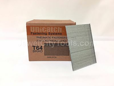 "16 Gauge T64 2-1/2"" long Galvanized Chisel Point Finish Brad Nails 2.5M per box"