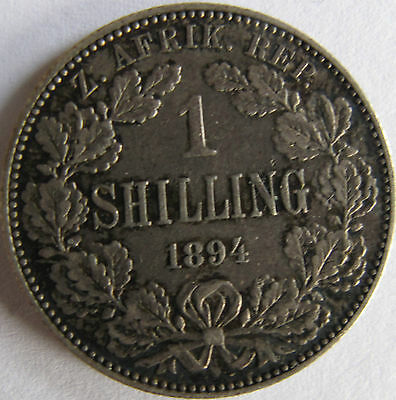 1894 1 Shilling Paul Kruger pre Boer War ZAR coin from South Africa