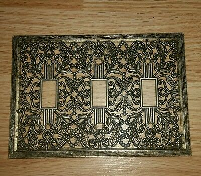 Vintage Ornate Brass triple 3 Light Switch Plate Cover Victorian Lace Metal