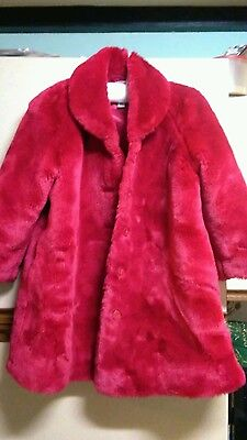 Girls Red Fur Coat Age 5 to 6 Next