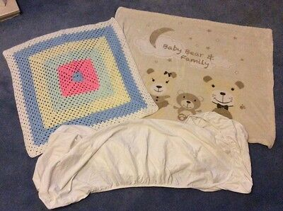 baby bedding, blankets, fitted cot bed sheet, crochet blanket neutral
