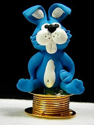 Shaking Rabbit Car Dashboard Funny Bobble Polymer Clay Sculpted Novelty #02