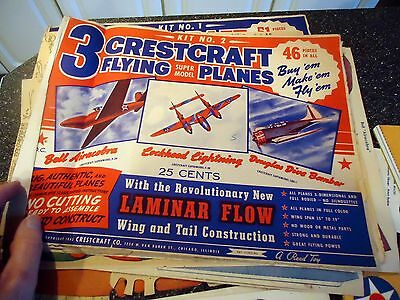 1943 Crestcraft Flying Paper Planes    Cutouts  #1&2