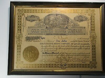 Vintage 1907 Gold Crater Mining Company Stock Certificate