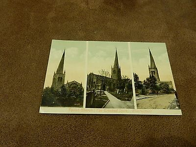 Early  postcard - tri view of crooked spire church - Chesterfield - Derbyshire