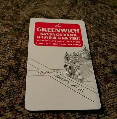 1952 Greenwich Savings Bank Broadway New York City Business Card pocket calendar