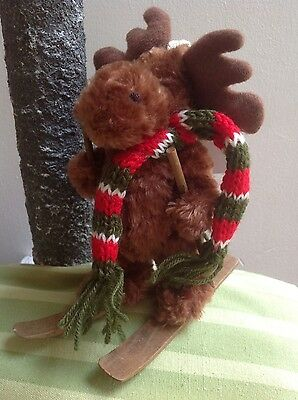 Skiing Moose 15cm, standing/hanging decoration by Gisela Graham