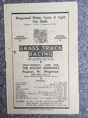 Grass track programme The Mount Speedway Ringwood