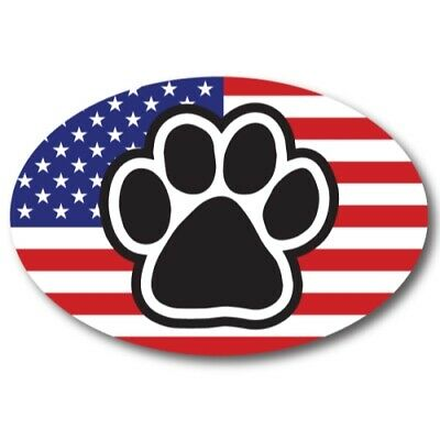 American Flag with Paw Car Magnet 4x6 in Oval Decal for Car Truck SUV or Fridge