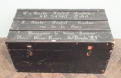 Antique French painted pine uniform travelling trunk chest