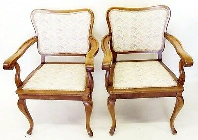 Antique French fauteuil style upholstered armchairs pair