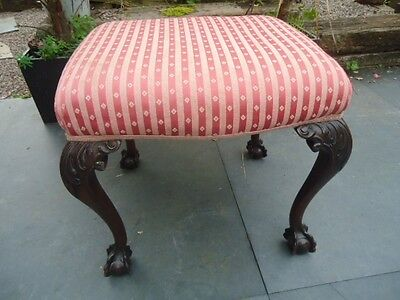 Antique Georgian style padded stool with carved cabriole legs & ball & claw feet