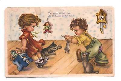 Vintage Postcard – Naughty Boy Scaring Girl With Mouse