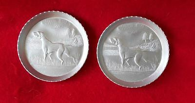 Vintage Metal Coasters with Hunting Dogs Pointers REFINISHED Beautiful!!!!