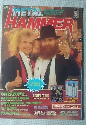 Metal Hammer Uk N° 25 1988 Magazine Magnum Vixen Mr.big Maiden Poster Warlock