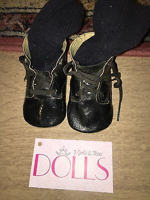 Pair of vintage black boots for large Mama/Baby doll