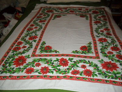 """VINTAGE CHRISTMAS TABLECLOTH/ COVER- HOLLY & POINSETTIA SQUARE pat.50x58"""""""