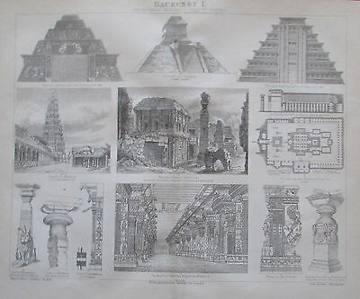 1885 BAUKUNST 1 bis 12 alter Druck Antique Print Lithografie Architektur