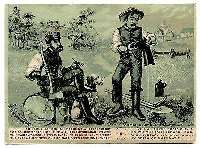 Candee Boots Advertising Card, With and Without, Jack Wide Awake & Farmer Slow