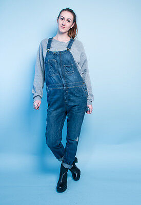 Vintage 90s Denim Dungaree grunge workwear overalls blue 8 10