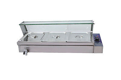 S/steel Hot Food Warmer Bain Marie 3X 1/2 Gn Trays+Cover Glass Display Wty