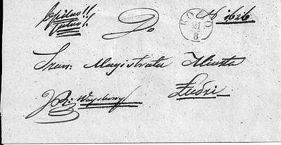 """Poland - 19th century cover Kolo - Lodz with underlined """"b.pilno"""" entry"""