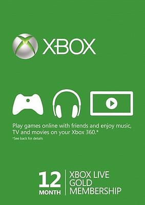 Xbox Live Xbox One 360 12 Month Gold Subscription Digital Code SAME DAY