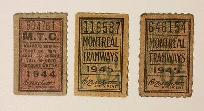 Montreal Tramway Streetcar tickets