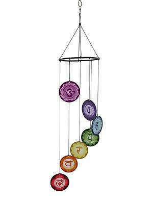 METAL CHAKRA 7PC MOBILE wind Chime garden decor hanging beads bell Wicca