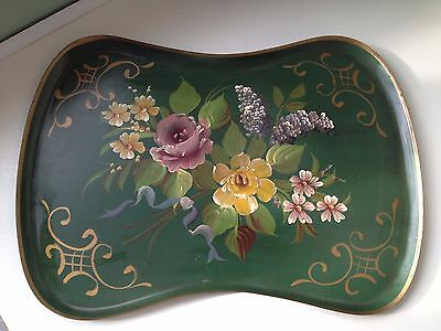 MASSIVE Green Vintage Tole Toleware Kidney-Shaped Serving Tray Roses & Lilacs