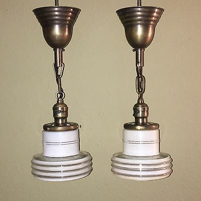 """17.5"""" Brass Pendant Lights With Hubbell Turnkey Sockets And Space Age Globes"""