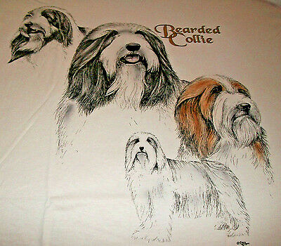 "Bearded Collie T-shirt  "" White "" 2x ( 50 - 52 )"
