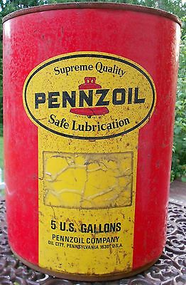 Vintage 5 Gallon Pennzoil Oil Can Metal Oil Can