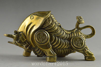 China collectible old copper handwork carved bull animal wealth statue