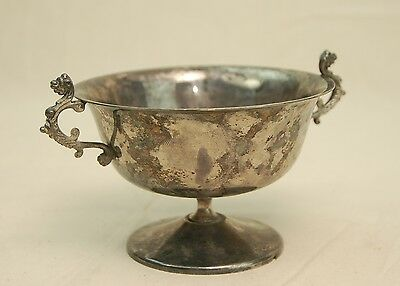 """Antique EALES 1779 Silverplated Bowl Cup Dish Double Lion Handle 3"""""""