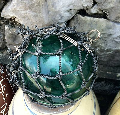 Japanese old Vintage Antique Fishing Net Glass Roped Buoy Ball  glass 6.49 inch