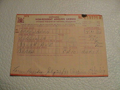 Old 1973 Ontario Canada Natural Resources Non Resident Fishing Angler License
