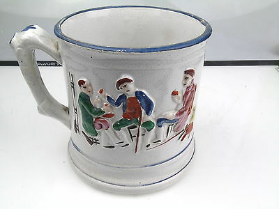 Antique Old Staffordshire Loving Cup Mug With Climbing Frog Inside