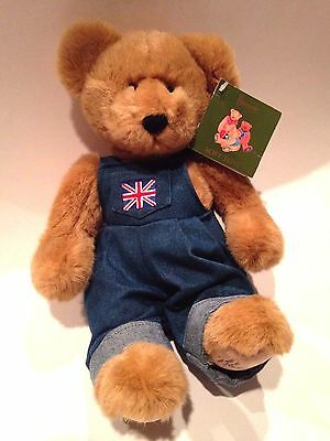 NEW COLLECTIBLE Harrods United Kingdom Bear Denim Overall Plush! FREE SHIPPING!