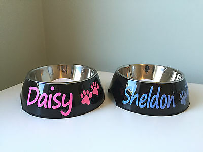 Personalised SMALL black cat dog puppy kitten pet feeder BOWL any name -gift NEW
