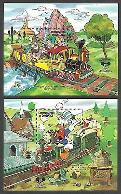 Dominica 1987 Disney Mickey Mouse 60Th Trains Cacti Dwarfs Set & 2 M/sheets Mnh