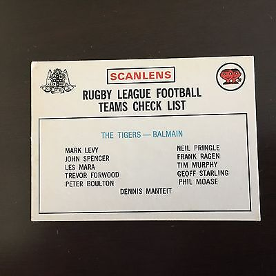 1975 Scanlens Rugby League Card Tigers Checklist