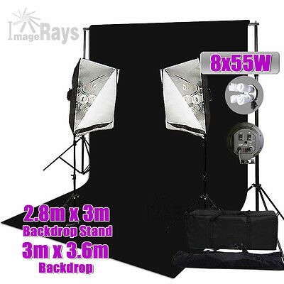 Muslin Background Stand 2200W Studio Softbox 4 Head Lighting Support Video Kit