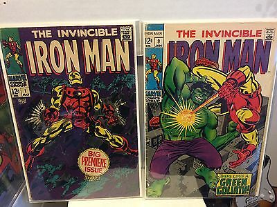 Marvel Comics Iron Man # 1 1st issue & 9 with Incredible Hulk  Silver Age comics