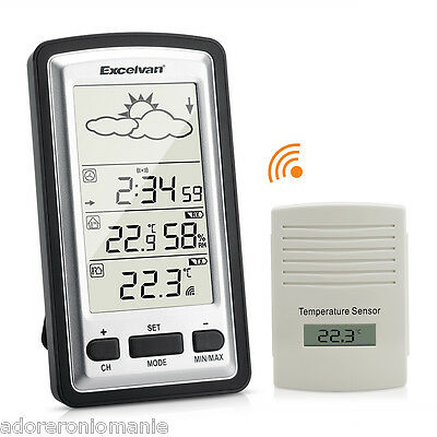 LCD Digital Wireless Weather Forecaster Station Indoor Outdoor Thermometer UK