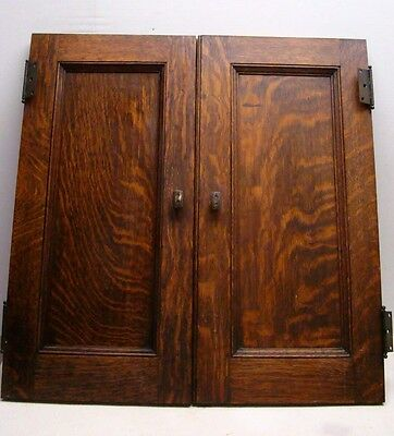 "PAIR of ANTIQUE MISSION OAK CABINET CUPBOARD DOORS w/HINGES & KNOB 24"" X 11 3/4"""