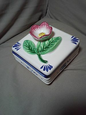 Yestal Handpainted Alcobach Portugal Box W/ Flower Cover