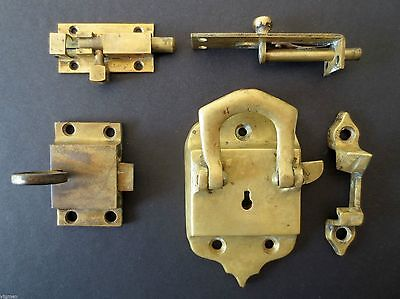 Lot 2 Antique Brass Ice Box Refrigerator Door Locks, 2 Brass Bolt Door Latches