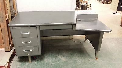 RARE Vintage INDUSTRIAL All-Steel Tanker Desk with Step Down Ledge